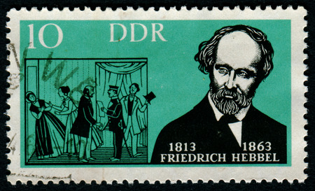 pseudonym: GERMANY- CIRCA 1963: stamp printed by Germany, shows Fridrich Hebbel, German playwright., circa 1963