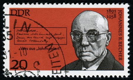 postmail: GERMANY-CIRCA 1981: A post stamp printed in Germany shows portrait of german politician Johannes R. Becher, circa 1981 Editorial
