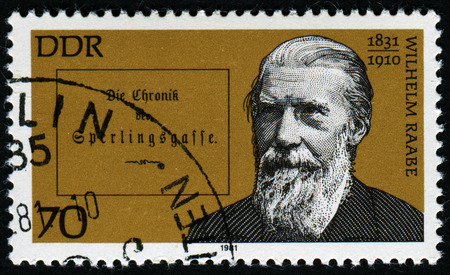 pseudonym: GERMANY- CIRCA 1981: stamp printed by Germany, shows Wilhelm Raabe, German Novelist and Poet, circa 1981.