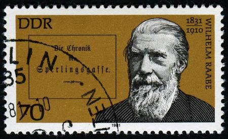 pseudonym: GERMANY- CIRCA 1981: stamp printed by Germany, shows Wilhelm Raabe, German Novelist and Poet, circa 1981.