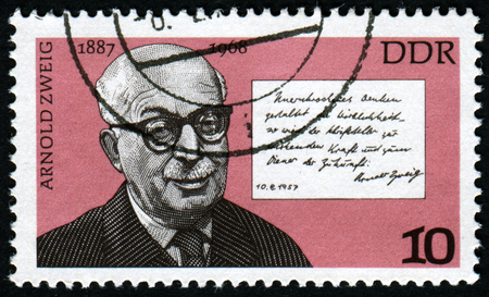 zweig: GERMANY- CIRCA 1976: stamp printed by Germany, shows Arnold Zweig and Quotation, circa 1976.