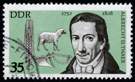 albrecht: GERMANY - CIRCA 1977: A stamp printed in Germany shows Daniel Albrecht Tahir, a German farmer, agronomist and physician, circa 1977