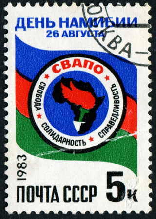 RUSSIA - CIRCA 1983: A stamp printed in USSR, shows Africa, devoted to Day of Namibia, circa 1983