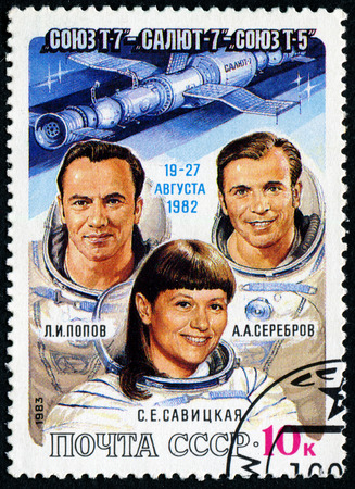 t5: USSR - CIRCA 1983: A post stamp printed in USSR (Russia), shows astronauts Popov, Serebrov and Savitskaya with inscriptions and name of series Soyuz T-7, Salyut 7, Soyuz T-5 Space Flight, circa 1983 Editorial