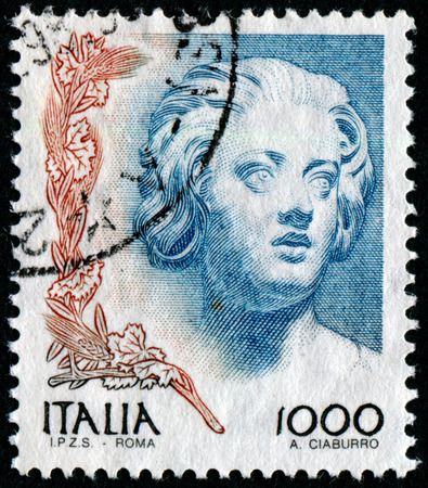 engraver: ITALY - CIRCA 1998: A stamp printed in Italy from the Women in Art issue shows Woman (Antonio del Pollaiuolo), circa 1998. Editorial
