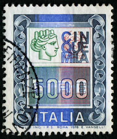 turreted: ITALY - CIRCA 1978: A stamp printed in Italy from the Italy turreted (Syracuse) issue showing the figure of an Ancient coin of Syracuse, circa 1978