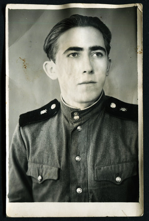 solders: USSR - CIRCA 1970s: An antique photo shows young solders portrait, 1970s Editorial