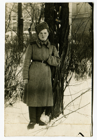 2nd century: USSR - 1940s: An antique studio photo of  woman soldier, USSR, 1940s Editorial