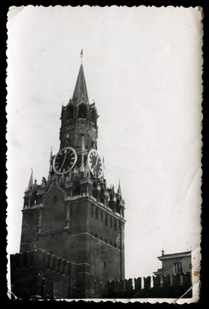 spasskaya: USSR - CIRCA 1980s: An antique photo shows Spasskaya and tsars towers of Moscow Kremlin