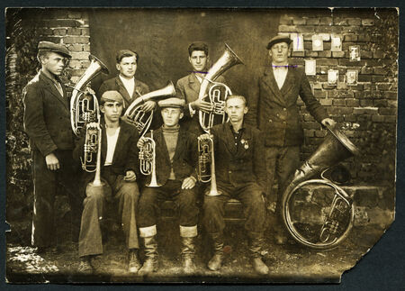 brass  band: USSR - CIRCA 1950s: An antique photo shows brass band, circa 1950s Editorial