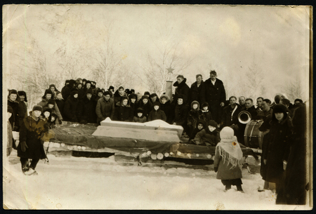 coffin: USSR - CIRCA 1950s: An antique photo shows brass band at the funeral, circa 1950s Editorial