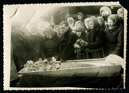 USSR - CIRCA 1950s: An antique photo shows funeral, circa 1950s