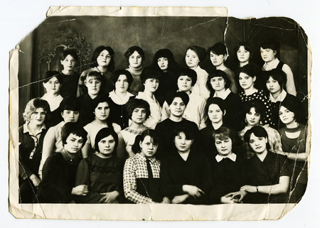 USSR - CIRCA 1970s: An antique photo shows Group portrait of students
