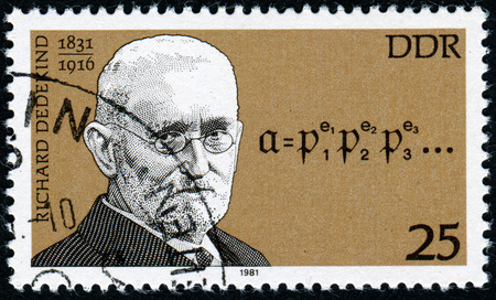 pseudonym: Germany - CIRCA 1981: A stamp printed in the Germany, shows the portrait Richard Dedekind, German mathematician, circa 1981