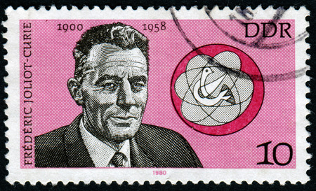 pseudonym: Germany - CIRCA 1980: A stamp printed in the Germany, shows the portrait Frederic Joliot-Curie, French physicist and social activist, circa 1980