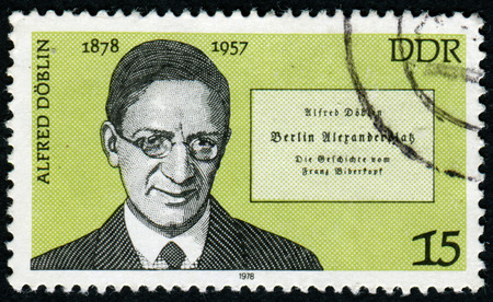pseudonym: Germany - CIRCA 1978: A stamp printed in the Germany, shows the portrait Alfred Doblin, German writer, circa 1978 Editorial