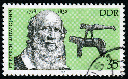 pseudonym: Germany - CIRCA 1978: A stamp printed in the Germany, shows the portrait Friedrich Ludwig Jahan, German teacher, circa 1978