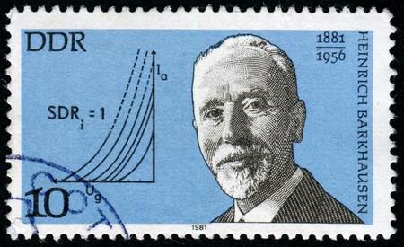 pseudonym: GERMANY- CIRCA 1981: stamp printed by Germany, shows Heinrich Barkhausen, German physicist, circa 1981. Editorial