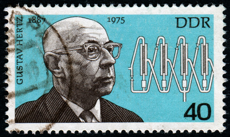 pseudonym: GERMANY- CIRCA 1977: stamp printed in Germany, shows Gustav Ludwig Hertz, circa 1977.