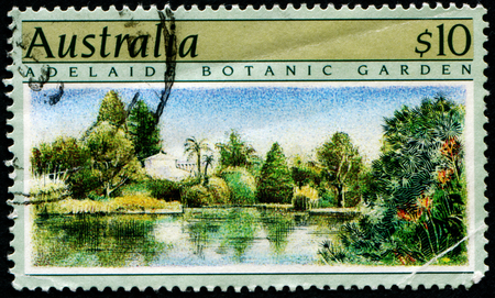 philately: AUSTRALIA - CIRCA 1989:A Cancelled postage stamp from Australia illustrating Australian Gardens, issued in 1989. Editorial