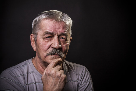 year profile: closeup portrait of old man Stock Photo