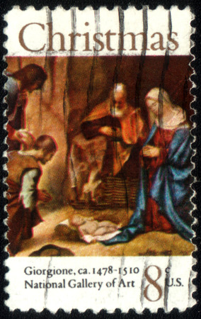 adoration: UNITED STATES OF AMERICA - CIRCA 1972: A stamp printed in USA shows painting Adoration of the Shepherds by Giorgione, series Christmas, circa 1972 Editorial