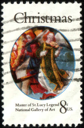 lucy: USA - CIRCA 1972: A Stamp printed in USA shows the detail from a painting by the Master of the Saint Lucy Legend (fl. 1480-1510), National Gallery of Art, Washington, series christmas, circa 1972