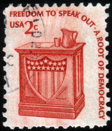 dais: USA - CIRCA 1975: A stamp printed in USA shows the Speakers Stand, series, circa 1975 Editorial