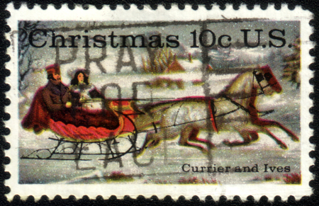 horse sleigh: UNITED STATES - CIRCA 1974: stamp printed by United states, shows The Road-Winter by Currier & Ives, circa 1974