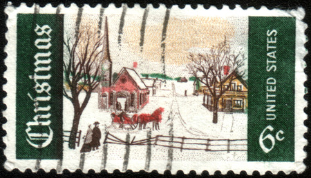 overprint: USA - CIRCA 1969: A postage stamp printed in USA (overprint ATLANTA, GA), Christmas Issue, shows Winter Sunday in Norway, Maine, circa 1969