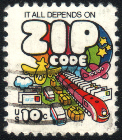 depends: USA - CIRCA 1973: A stamp printed in United States of America shows inscription it all depends on zip code, circa 1973
