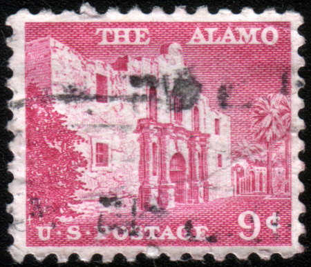UNITED STATES - CIRCA 1956: a postage stamp printed in USA showing an image of the chapel of The Alamo mission, circa 1956.