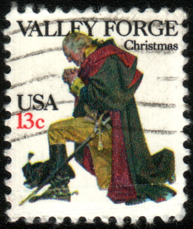 forge: UNITED STATES - CIRCA 1977: A stamp printed in United States of America shows Washington at Valley Forge, circa 1977 Editorial