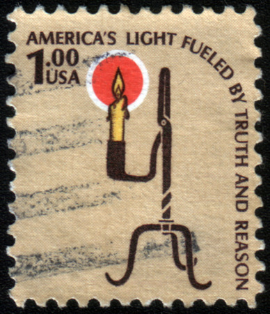 fueled: USA - CIRCA 1975: A stamp printed in United States of America shows Rush Lamp and Candle Holder and the inscription Americas Light Fueled by Truth and Reason, circa 1975