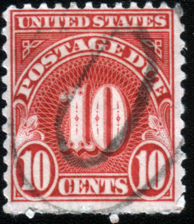 united states postal service: UNITED STATES OF AMERICA - CIRCA 1930: Ten cent postage due stamp printed in the United States shows 10 cents, circa 1930