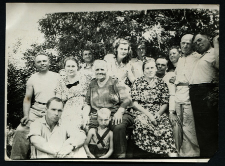 old people group: Ussr - CIRCA 1970s: An antique Black & White photo show family portrait Editorial