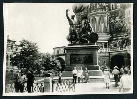 kreml: MOSCOW - CIRCA 1984: Statue of Kuzma Minin and Dmitry Pozharsky, Moscow, USSR, 1984