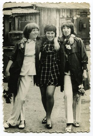 archival: USSR - CIRCA 1960s: An antique photo shows portrait of a three women