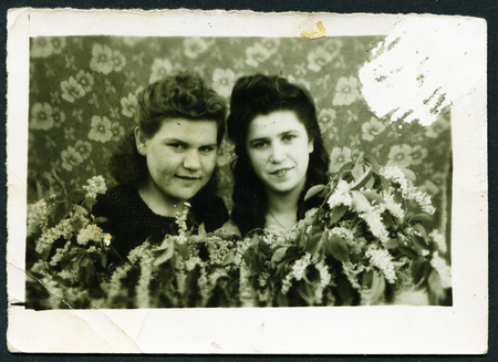 generational: USSR - CIRCA 1960s: An antique photo shows  portrait of two women, USSR, circa 1960s