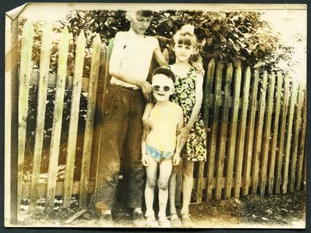 USSR - CIRCA 1960s: An antique photo shows three children