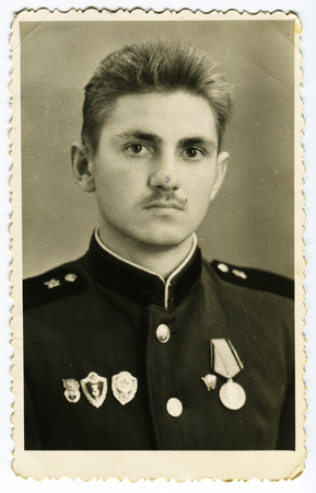 colonel: USSR - CIRCA 1960s: An antique photo shows portrait of a Soviet Army Colonel in uniform