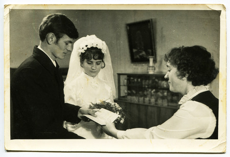 USSR- 1970s: A vintage photo shows wedding