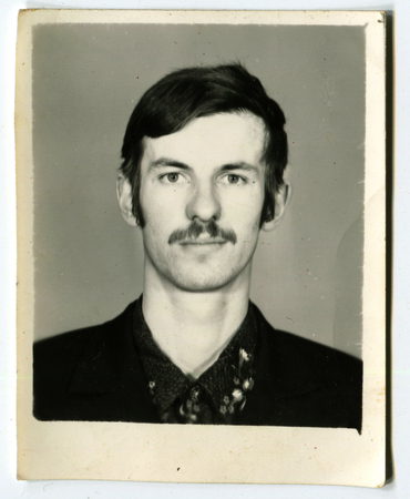 archival: USSR - CIRCA 1980s: An antique photo shows portrait of a young man