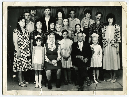 big family: Ussr - CIRCA 1950s: An antique Black & White photo show big family