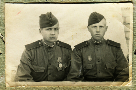 USSR - CIRCA 1940s: Vintage photo shows two soldiers, period of WWII