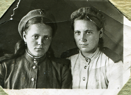 USSR - 1945: An antique studio photo of two women officer, 1945, USSR Editorial