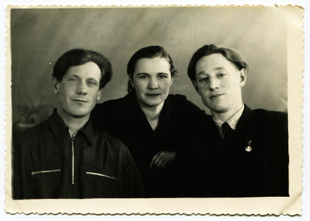 generational: USSR - CIRCA 1950s: An antique photo shows studio family portrait Editorial