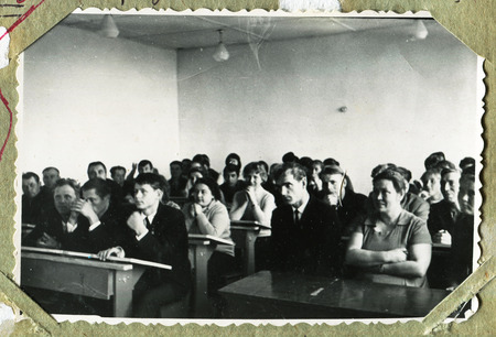 night school: Ussr - CIRCA 1960s: An antique Black & White photo show night school for adults
