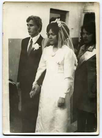 old photograph: USSR - CIRCA 1970s: An antique photo shows  wedding, USSR, circa 1970s