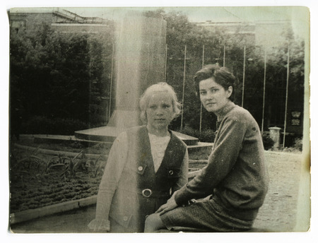 Ussr - CIRCA 1970s: An antique Black & White photo show two girl